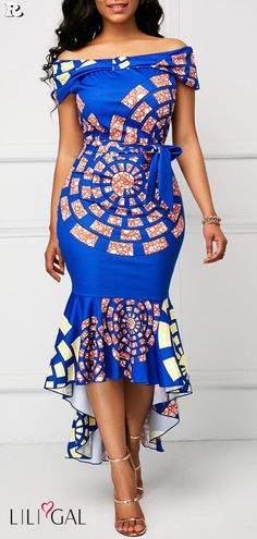 African Print Dress Printed Belted Off the Shoulder Mermaid Dress African Dresses For Women, African Print Dresses, African Print Fashion, Africa Fashion, African Attire, African Fashion Dresses, African Women, African Prints, Ghanaian Fashion