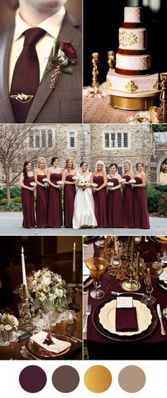 vintage burgundy, brown and gold wedding inspiration colors brown Six Beautiful Burgundy Wedding Colors In Shades of Gold Burgundy Wedding Colors, Best Wedding Colors, Winter Wedding Colors, Gold Wedding Theme, Burgundy And Gold, Wedding Goals, Wedding Color Schemes, Wedding Day, Wedding Vintage
