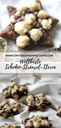 Streuselsternchen - chocolate chip cookies with crumble and jam - cinnamon biscuit and apple tart-Streuselsternchen – Schokoladenkekse mit Streuseln und Marmelade – Zimtkeks und Apfeltarte Streuselsternchen, one of the most popular … - Cinnamon Biscuits, Chocolate Biscuits, Chocolate Cookie Recipes, Easy Cookie Recipes, Cookies Et Biscuits, Chocolate Chip Cookies, Cinnamon Cookies, Popular Cookie Recipe, Shortcrust Pastry