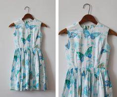 Waterfly Dress / 1960s vintage dress / sequin butterfly dress
