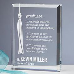 Definition of a Graduate Personalized Graduation Plaque
