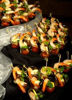 Individual Shrimp Cocktail Shooters Display by AA Executive Catering