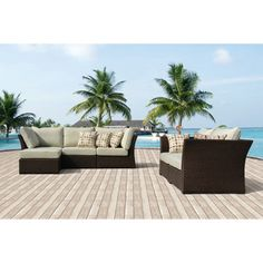Oreanne 6-piece Sorrel Wicker Outdoor Furniture Set with Pillows | Overstock.com Shopping - The Best Deals on Sofas, Chairs & Sectionals