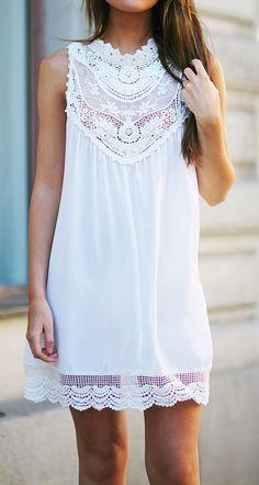 White Plain Sleeveless Loose Cotton Mini Dress - Mini Dresses - Dresses
