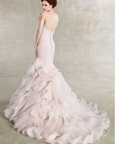 Love this Kitty Chen Couture blush pink wedding gown <3<3<3 #pink #wedding #dress