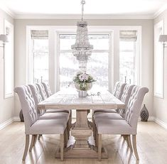 white dining room table brilliant white dining room furniture best 25 table for GUDKWAT - Home Decor Ideas - Best Pins Elegant Dining Room, Luxury Dining Room, White Dining Room Table, Rustic Dining Tables, Formal Dining Rooms, Luxury Living, Dining Room Windows, Gray Dining Chairs, Neutral Dining Rooms