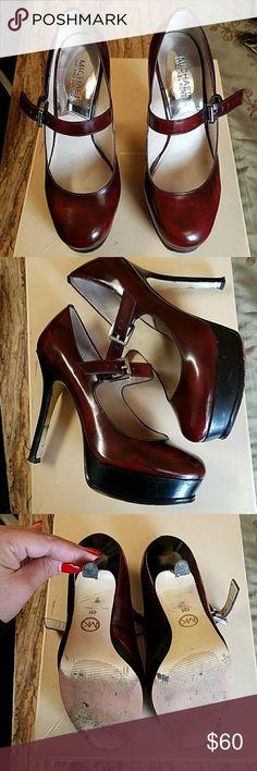 Authentic Michael Kors Eboni Platform Mary Jane Leather Michael Kors Shoes Heels