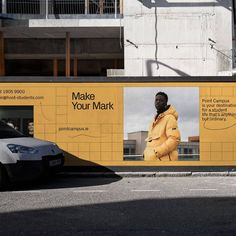 Point Campus hoarding design 💥 The grid system used is a kind of graphic scaffolding, and gives a visual nod to the foundation and support… Visual Advertising, Display Advertising, Advertising Ideas, Funny Billboards, Hoarding Design, Signage Display, Identity, Event Branding, Ad Design