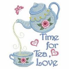 Set of 2 Time for Tea Teapot and Teacup embroidered  fabric quilt squares RQQ™