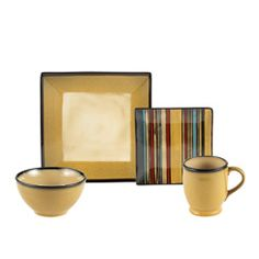 Belmont Square Gold Stripes 16 Piece Stoneware By Mikasa I Really Like The Striped Salad Plate