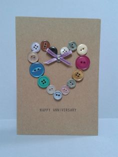 Items similar to Multi coloured Button Heart Anniversary Card, Unique, Personalised. on Etsy Multi coloured Button Heart Anniversary Card Unique by GurdGifts, Handmade Birthday Cards, Greeting Cards Handmade, Button Cards, Paper Cards, Creative Cards, Cute Cards, Scrapbook Cards, Homemade Cards, Cardmaking
