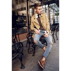 I love everything about this outfit :-) Zara Shoes, Diesel Jeans, H&M Sweater, Bershka Coat, H&M Shirt Diesel Jeans, Style Casual, Men Casual, Smart Casual, Mode Man, Herren Style, Herren Outfit, Mode Style, Men's Style