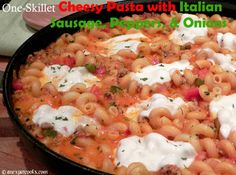 Take the popular sandwich and turn it into a one-skillet pasta dish with gooey, melted mozzarella.Perfect for busy weeknights! Sausage Peppers And Onions, Stuffed Peppers, Italian Sausage Pasta, Skillet, Mozzarella, Popular, Dishes, Cooking, Recipes