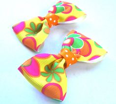 Yellow Floral Bow Tie Hair Bows  Basic Bow by fortheloveofzebra, $3.00