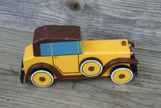 Hand painted Toy Wood Car. $12.90, via Etsy.