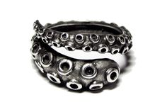 Sterling Silver Octopus Tentacle Wrap Ring - Easily Adjustable! on Etsy, $42.79 CAD