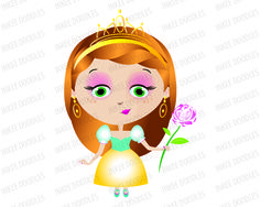 Princess Girl with Gold Tiara holding a Flower wearing a Teal Turquoise Yellow Dress - Clip Art can be used for Commercial Use 30014, $6.00 #cuteclipart #littlegirl #princess