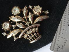 Antique basket Crown TRIFARI brooch glass rhinestone signed