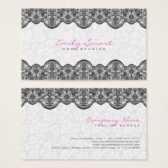 Elegant White Damasks Black Lace Business Card - floral style flower flowers stylish diy personalize