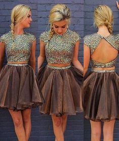 Cute round neck two pieces short prom dress, homecoming dress