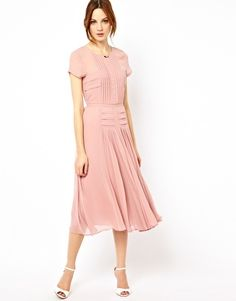 Ingrandisci Warehouse - Vestito longuette con corpino e gonna plissettati