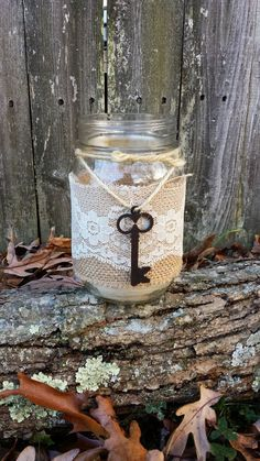 Rustic shabby chic mason jar burlap lace key... Just picturing a skeleton key on the table among other fabulous things and it totally worked. Yes, a little out there..