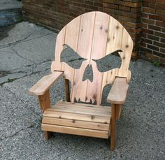 Adirondack Skull Chair handcrafted from one inch cedar with custom metal bracing - this Adirondack Chair is perfect around the fire or in your shop! Woodworking Outdoor Furniture, Adirondack Furniture, Wooden Pallet Furniture, Outdoor Garden Furniture, Adirondack Chairs, Rustic Furniture, Outdoor Chairs, Antique Furniture, Skull Furniture