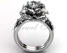 Platinum diamond unusual unique flower engagement ring by Jewelice