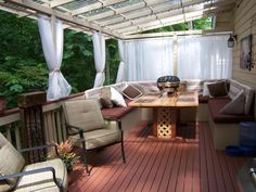 10 Ultra-Dreamy Decks: For those who love to enjoy their outdoor space year round, a covered deck is the perfect solution for season-to-season comfort. Rate My Space contributor designgal71 enclosed her deck from top to bottom with a shaded roof and soft mesh curtains to keep out mosquitoes and provide a comfortable breeze during the summer months. From DIYnetwork.com