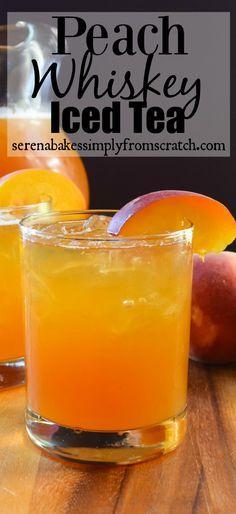 Peach Whiskey Iced Tea | Serena Bakes Simply From Scratch Peach Whiskey, Whiskey Drinks, Bar Drinks, Cocktail Drinks, Cocktail Recipes, Scotch Whiskey, Irish Whiskey, Iced Tea Cocktails, Craft Cocktails