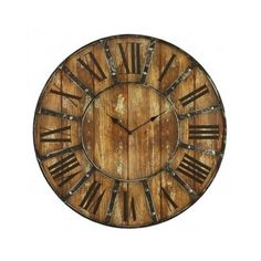"""Oversized Wall Clock Distressed Wood Industrial Roman Numerals Rustic Metal 24"""" #Aspire #Novelty"""