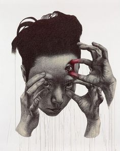 Korean artist Spunky Zoe (Seungyea Park) creates her surreal large-scale portraits using only ball point pen and acrylic paint. Her works are based on her theory of psychological duality, where two monsters - one that lives inside her and one that lives outside - are constantly at odds with one another. 'My paintings are like battlefields in which these monsters are struggling.'