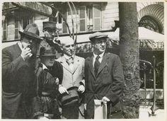 Manuel Ortiz de Zarate, Henri-Pierre Roché [in uniform], Marie Vassilieff, Max Jacob and Picasso, Blvd. Montparnasse in front of La Rotonde, Paris, 12 Aug. 1916 -by Jean Cocteau