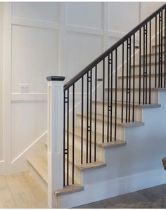 Staircase Lighting Ideas, Staircase Railing Design, Metal Stair Railing, Wrought Iron Staircase, Staircase Handrail, Balcony Railing Design, Wood Floor Stairs, House Stairs, Grill Door Design