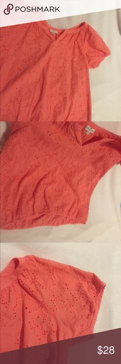 Cute coral top Really cute, coral, eyelet top. Scoop neck with V opening. Elastic waistband. Like new condition. Hardly worn. Smoke free home. Tops
