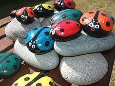 Pebble Pet Ladybirds - garden art & sculpture