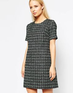 Helene Berman Tweed Shift Dress with Silver and Sequin Flecks