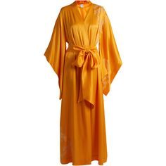 Carine Gilson Lace-appliqué silk-satin robe ($963) ❤ liked on Polyvore featuring intimates, robes, yellow, yellow robe, carine gilson, lace robe, lace dressing gown and lace bathrobe