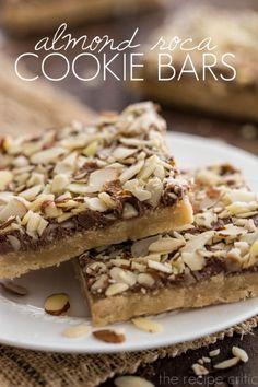 Almond Roca Cookie Bars / The Recipe Critic Almond Roca, Almond Bars, Brownie Recipes, Cookie Recipes, Dessert Recipes, Bar Recipes, Candy Recipes, Just Desserts, Delicious Desserts
