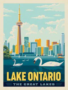 City Illustration, Digital Illustration, Dorm Art, Great Lakes, Travel Themes, Vintage Artwork, Vintage Travel Posters, Ontario, Posters Canada