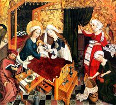 1460 1465 maître du rhin supérieur- naissance de marie- détail d'un retable. Wohnverhältnisse  Oberrheinischer Meister: Die Geburt Mariens. Um 1460/65