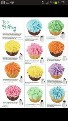 Chocolate CupCakes Banana Chocolate Cupcakes & What tip to use for what decoration.Banana Chocolate Cupcakes & What tip to use for what decoration. Frost Cupcakes, Yummy Cupcakes, Cupcake Cookies, Mini Cupcakes, Chocolate Cupcakes, Baking Cupcakes, Wedding Cupcakes, Birthday Cupcakes, Flower Cupcakes