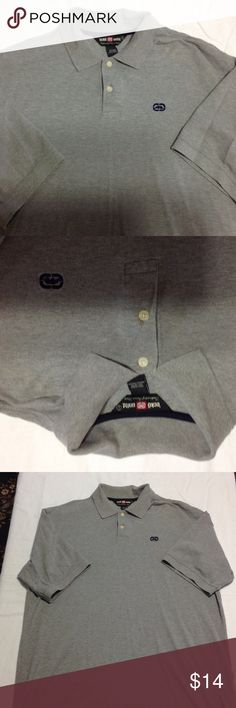 Men's Ecko Grey Polo Short Sleeve Size large Men's light grey short sleeve polo shirt with blue Ecko symbol. Size large and 100% cotton. Worn a few times but in good condition. Ecko Unlimited Shirts Polos