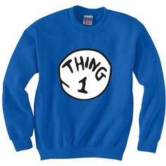 New Thing 1 2 3 Dr Seuss Cat in the Hat fan sweatshirt crewneck... ❤ liked on Polyvore