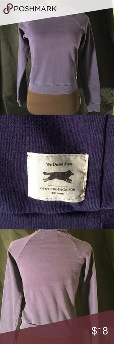 Obey Purple Sweatshirt Like new, dark purple, no hood. Obey Sweaters