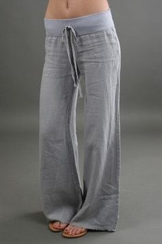 Wide Leg Linen Pant - bought a pair today and i absolutely love them. Summer Outfits, Casual Outfits, Cute Outfits, Fashion Outfits, Womens Fashion, Looks Style, My Style, Pantalon Large, Wide Leg Linen Pants