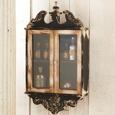 Rustic Wall Cabinet With 2 Glass Doors