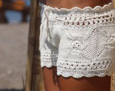 Clohe handmade crochet beach short cream crochet by EllennJames