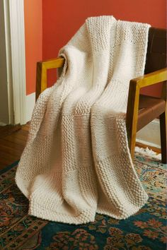 Basketweave Afghan in Lion Brand Wool-Ease Thick & Quick - 90332AD | Knitting Patterns | LoveKnitting