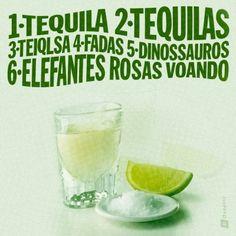 <p></p><p>1 Tequila. 2 Tequilas. 3 Teiqlsa. 4 Fadas. 5 Dinossauros. 6 Elefantes rosas voando.</p>